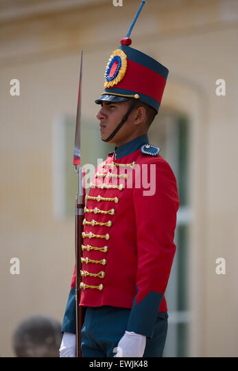 A Colombian ceremonial Guard at the Presidents residence in Bogota, Colombia. - Stock Image