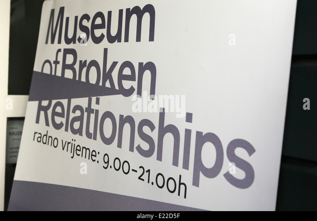 A sign at the Museum of Broken Relationships in Zagreb, Croatia. - Stock Image