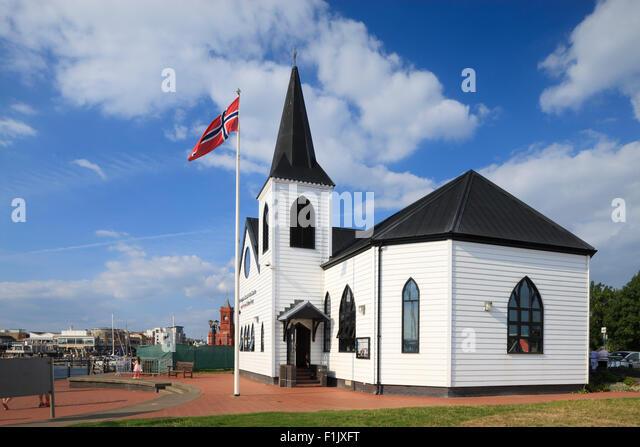 Norwegian Sailors Church Cardiff Bay Cardiff Wales - Stock Image