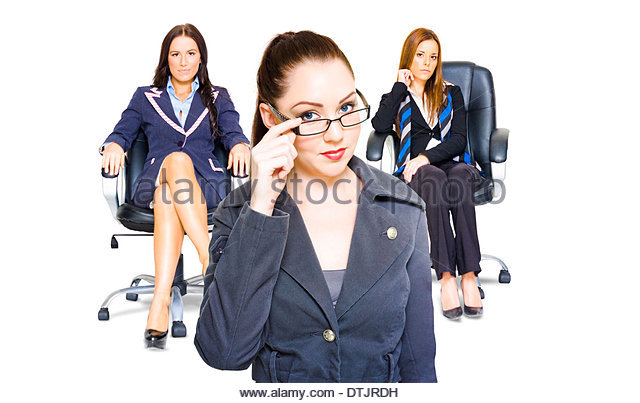 Three diverse women achievers in corporate business all exhibiting profound self-confidence , ability and performance - Stock Image