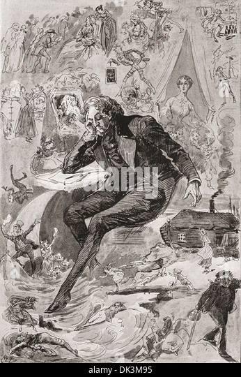 David Copperfield. Illustration by Harry Furniss for the Charles Dickens novel David Copperfield. - Stock Image
