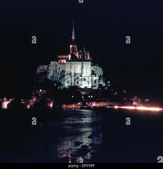 Mont Saint Michel at night, France - Stock Image