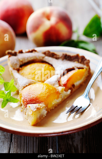 peach tart slice - Stock Image