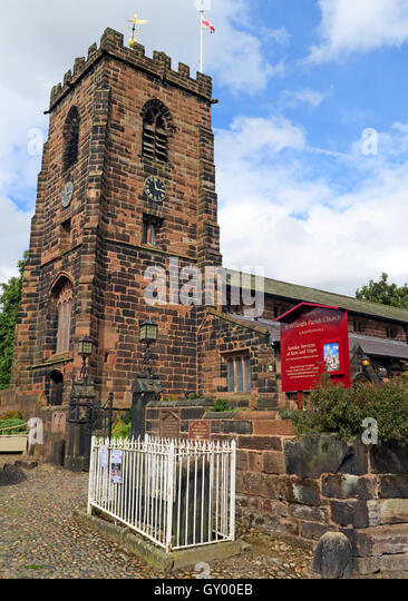 Exterior of St Wilfrids church tower,Grappenhall,Warrington,Cheshire England UK - Stock Image