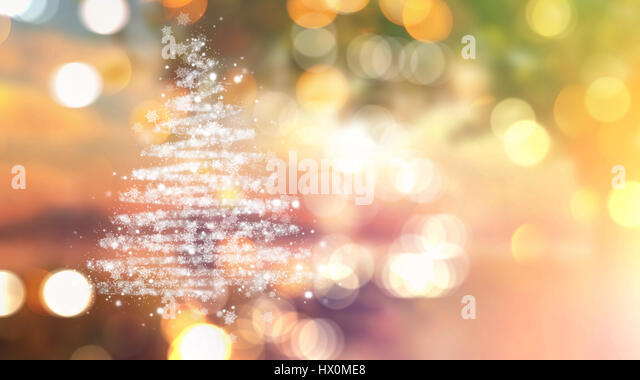 Christmas tree of stars on a bokeh lights background - Stock Image
