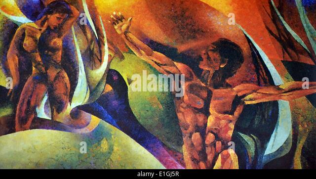 Cesar T. Legaspi, Passing Through, 1992, Oil on canvas. - Stock Image