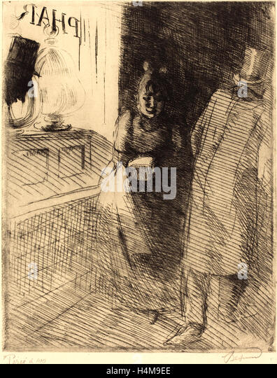 Albert Besnard, French (1849-1934), Prostitution (La Prostitution), c. 1886, etching and drypoint on laid paper - Stock-Bilder