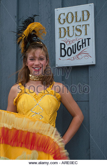 Alaska Haines Dalton City recreated gold rush frontier town cancan dancer - Stock Image