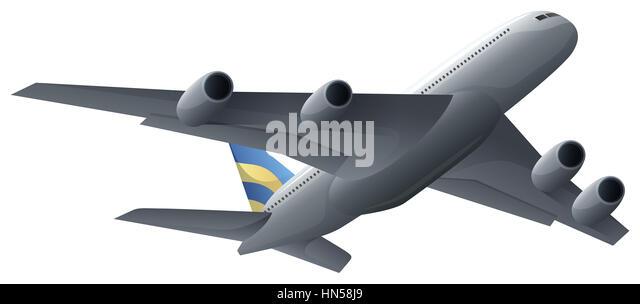 Airplane flying on white background illustration - Stock Image