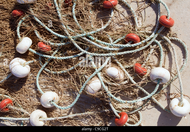 fishing professional tackle for fisherboats like buoys and nets - Stock Image
