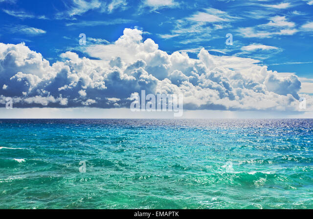 Beautiful view of the clouds over the sea - Stock Image