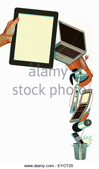Waste electrical appliances going in rubbish bin - Stock Image