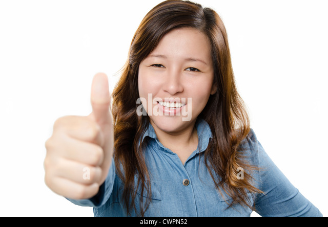 Showing thumb up - Stock Image