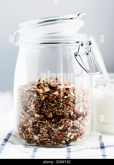 Jar of homemade granola - Stock-Bilder