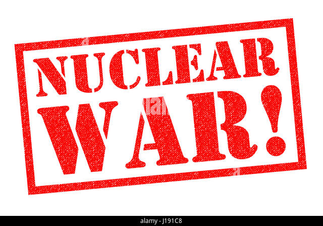 NUCLEAR WAR! red Rubber Stamp over a white background. - Stock Image