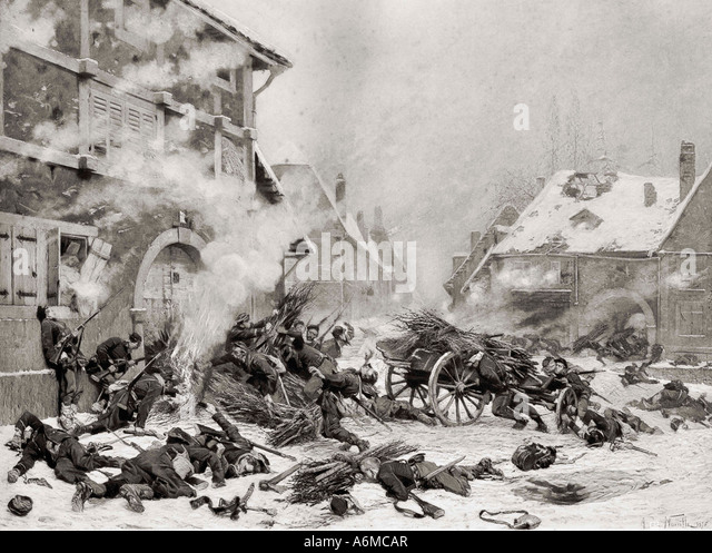 Attack with Fire against a barricaded house. Incident in the French Prussian War of 1870 to 1871. - Stock Image