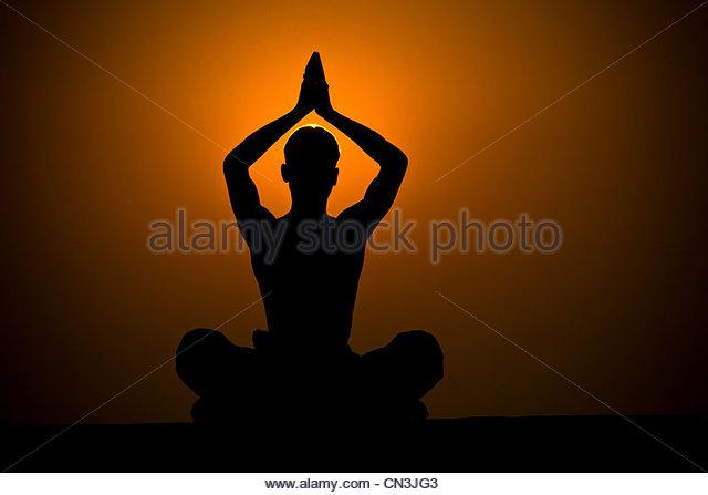 Samadhi practice, Varanasi, India - Stock-Bilder