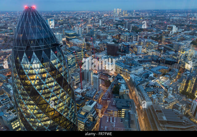 City of London skyline at dusk. - Stock Image