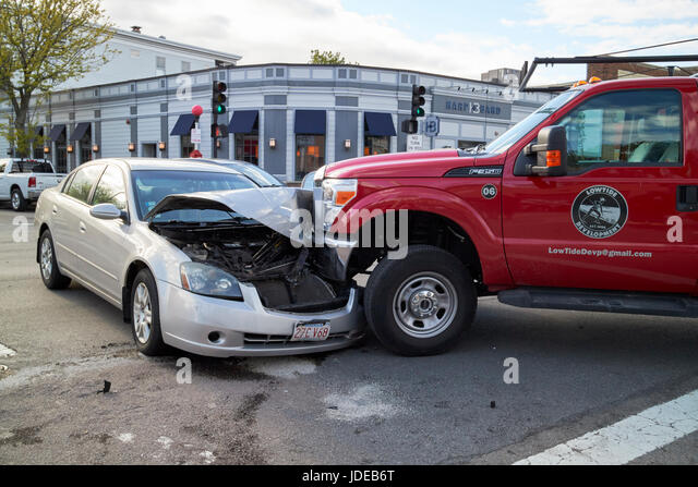 car and truck crash at intersection in suburbs of Boston USA - Stock Image
