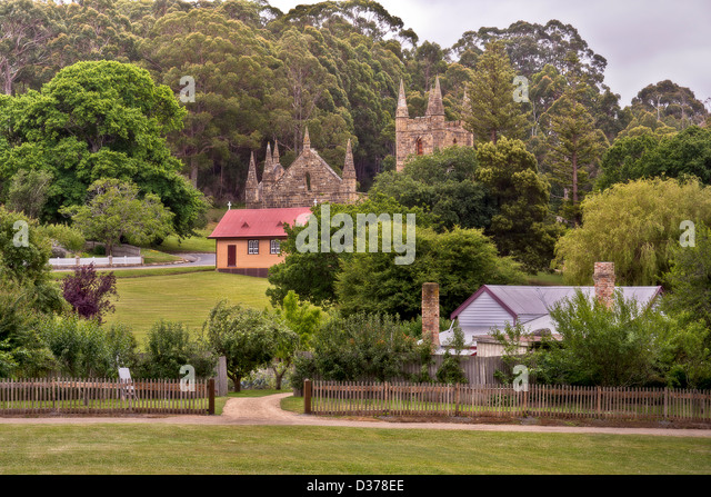 Building ruins at Port Arthur, Tasmania which was once a penal settlement in the colony's convict beginnings. - Stock Image