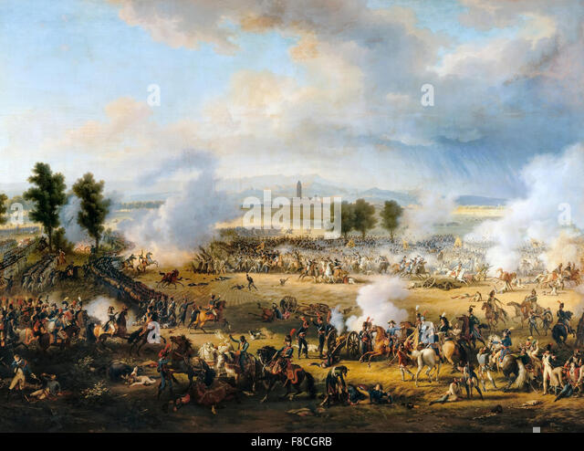 BATTLE OF MARENGO in 1802, at Spinetta  Marengo, Piedmont, Italy . Painting by Louis-Francois, Baron Lejeune - Stock Image