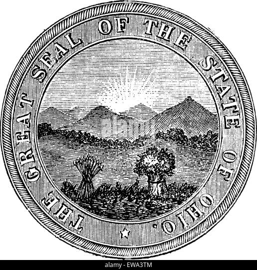 Seal of the State of Ohio, vintage engraved illustration. Trousset encyclopedia (1886 - 1891). - Stock Image