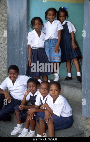 Grenada St. George's St. Mary's Catholic School students uniforms - Stock Image