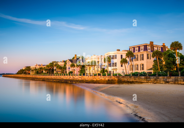 Charleston, South Carolina, USA at the historic homes on The Battery. - Stock-Bilder