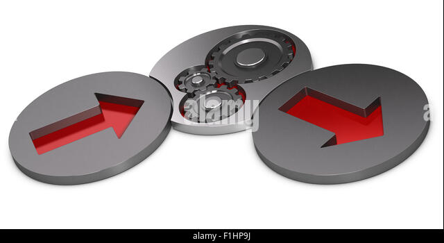 Input process and output model. Two metal cylinders with red arrows inside and one with gears over white background. - Stock Image