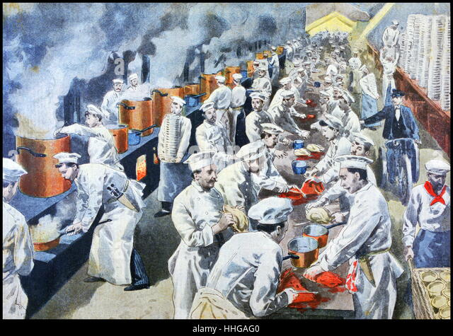 Illustration showing the preparation of a banquet (chefs in the kitchens) at the Exposition Universelle of 1900. - Stock Image