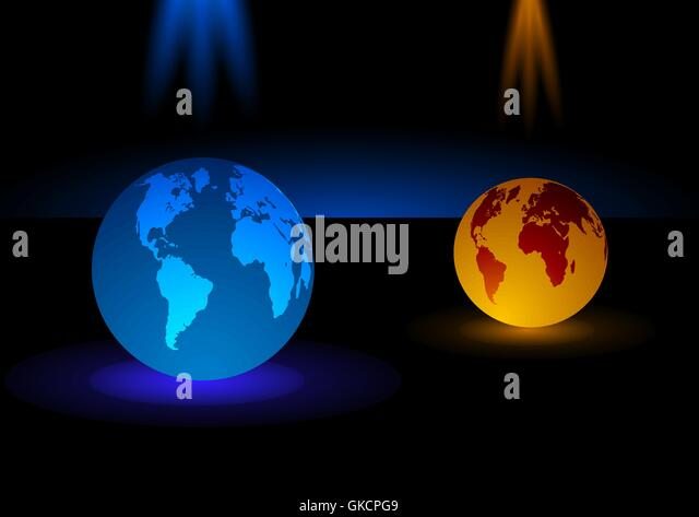 glass Modern blue and orange globe  background, vector illustration - Stock-Bilder