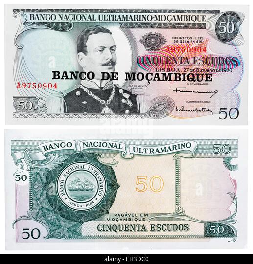 50 escudos banknote, Joao de Azevedo Coutinho, Mozambique, 1970 - Stock Image