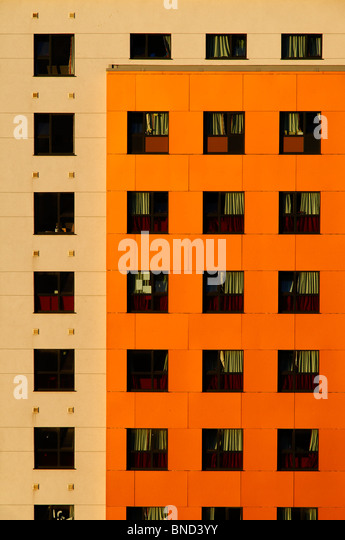 Modern colourful architecture of student apartments in a typical British city - Stock Image