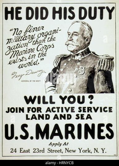 WWI, Marine Recruitment Poster - Stock Image