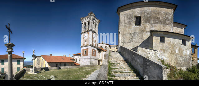 Square of the church, Sacred Mount of Varese in a limpid morning summer with blue sky in background - Stock Image