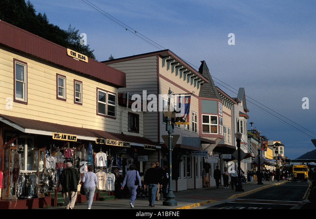 Alaska Juneau historic district street - Stock Image