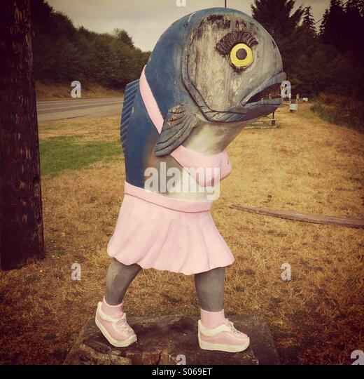 Rosie the Salmon, mascot of Sekiu, Washington, fishing harbor on Straits of Juan de Fuca - Stock Image