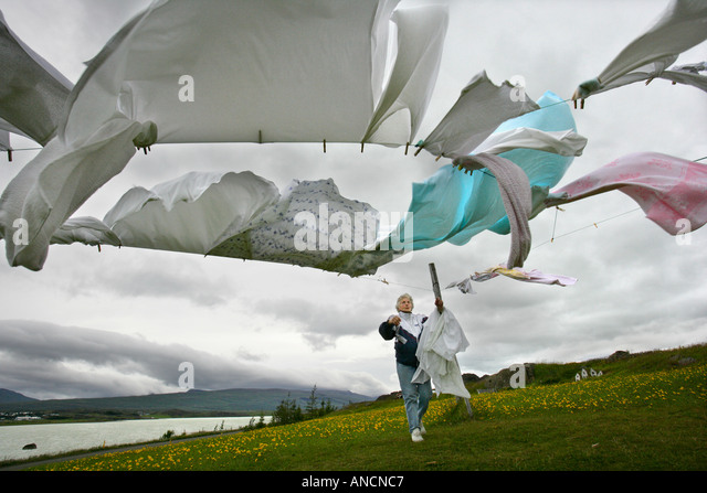 Windy Laundry Eastern Iceland - Stock Image