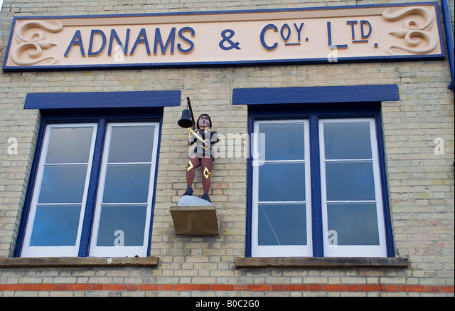Adnams Brewery Sign with Southwold Jack or Jack-o-the Clock or Jack-smite-the Clock, Southwold,Suffolk,England, - Stock Image