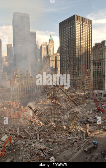 A view of the wreckage of the World Trade Center following a massive terror attack which destroyed the twin towers - Stock Image
