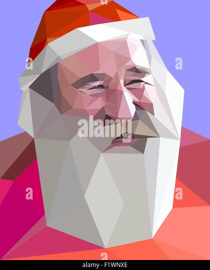 Trendy low poly' style portrait of laughing Santa with gray beard' - Stock-Bilder