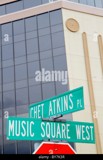 Nashville Tennessee Music City USA Music Row entertainment industry local economy street sign Music Square West - Stock Image
