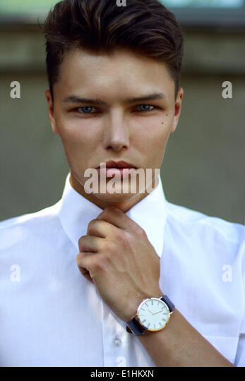 Individuality. Ambitious Successful Handsome Caucasian Man with Watch - Stock Image