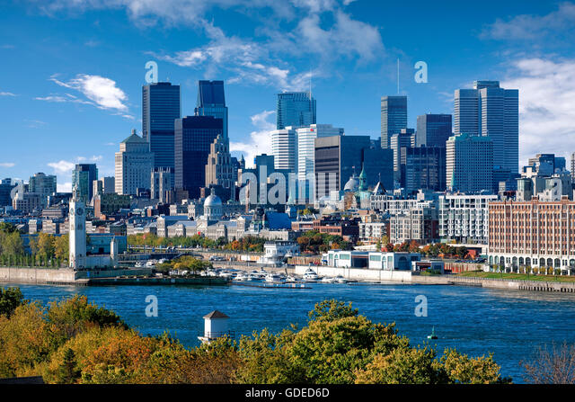 Montreal skyline and business district - Stock Image