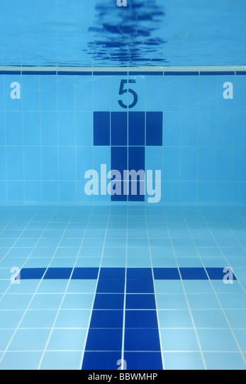 The lane 5 underwater of a swimming pool sport concept - Stock-Bilder