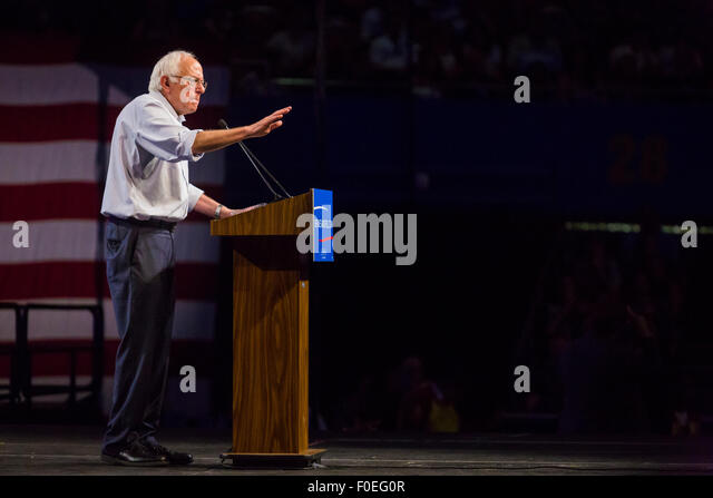 U.S. presidential candidate Bernie Sanders speaks at a rally at Los Angeles Memorial Sports Arena on August 10th, - Stock Image