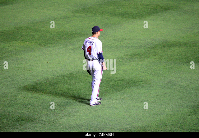 Atlanta, Georgia - June 16, 2011: Joe Mather of the Atlanta Braves Baseball Team. - Stock Image