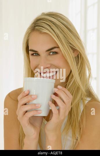 Woman with drink - Stock-Bilder