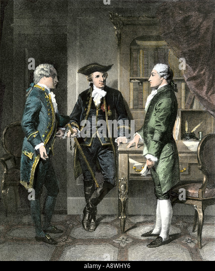 Baron Johann de Kalb introducing the Marquis de Lafayette to Silas Deane during the American Revolution - Stock Image