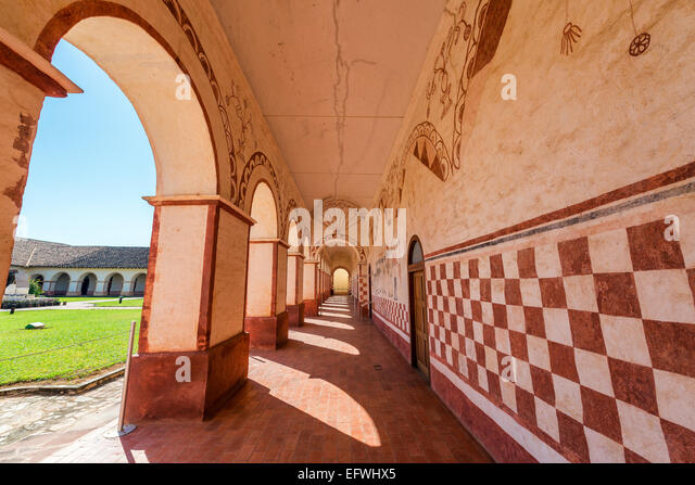 Corridor in the courtyard of the UNESCO World Heritage Jesuit Mission in San Jose de Chiquitos, Bolivia - Stock Image